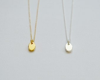 Pebble necklace, gold pendant necklace, sterling silver charm necklace, oval, disk, dainty, delicate, nugget, simple jewelry - Octavia