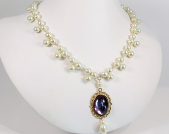 Pearl Lace Drop - Tudor Renaissance Medieval Victorian Regency Game of Thrones Costume Jewelry Necklace