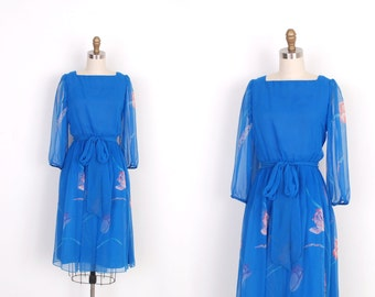 Vintage 1980s Dress / 80s Silk Chiffon Floral Print Dress / Blue (XS extra small)