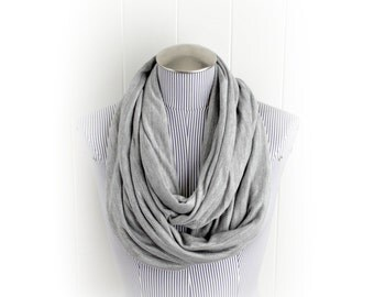 Light Gray Infinity Scarf, Casual Sheer Knit Stripe Shimmer Heather Gray