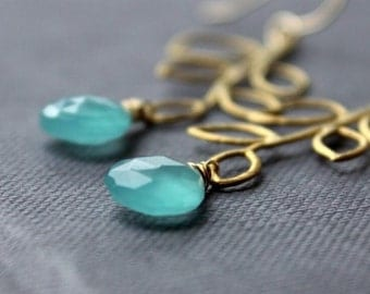 Aqua Blue Chalcedony Branch Gold Earrings