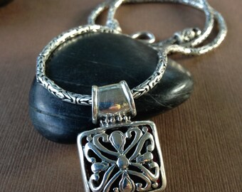 Sterling Silver Reversible Pendant - Estate Vintage Ornate Bali Silver Red Jasper Byzantine Chain
