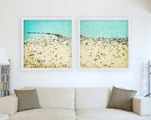 Large Beach Photography // Large Diptych Prints // Beach People, Coney Island Beach, Beach Prints, Teal - Coney Island Beach Diptych Prints