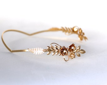 Delicate Blooming Crown Greek Goddess Headband #2, Bridal Hair Accessory, Grecian Wreath, Wedding Headband, Floral Gold Tiara