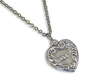 Vintage Sweet Heart Necklace Heart Charm Silver Necklace Vintage Charm 453