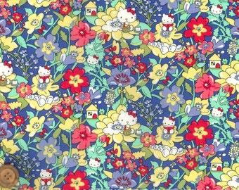 Liberty Tana Lawn Fabric - Liberty Japan, Kirstie Hello Kitty, Liberty Print Cotton Scrap, Kawaii Quilting - ntkitty22f