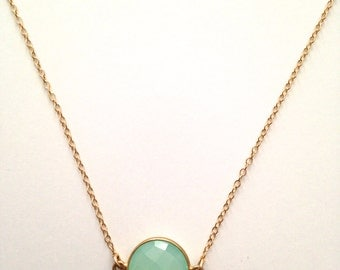 Chalcedony Bezel Coin Necklace, Dainty Seafoam Mint Green Pendant, Delicate 14K Gold Filled Chain, Calming Stone.  TN243