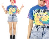 90s Tie Dye Tshirt Rainbow Tie Dye Crop Top Dollywood Tennesee Dolly Parton Tshirt Country Music Hippie Cotton Tee Summer Top (XS/S)