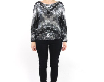 70s 80s  Disco Silk Sequin Blouse Art Deco Glam Sequin Top Geometric Silver Black Sequins Cocktail Party Evening India Long Sleeve Top (S/M)