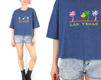 90s Las Vegas Crop Top Tourist Tshirt Summer Hipster Crop Top Blue Cotton Tshirt Embroidered Palm Trees Short Sleeve Oversize Boxy Tee (L)