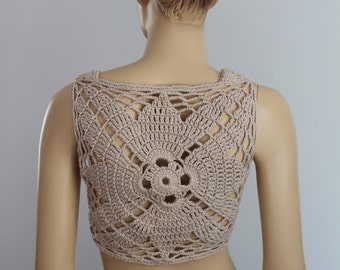 Ready to ship - Cotton  Beige Crochet Tank ,Top , Halter , Mandala Pixie Vest -  Summer - Boho Chic