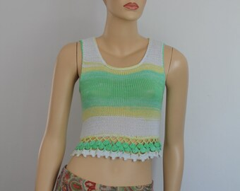 Pastel Green Yellow White Cotton  Hand Knit  Crochet Cropped Sweater Tank Top  Summer Women - Ready to ship