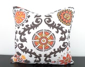 Orange ikat pillow cover 20x20, gray couch pillow case, tribal cushion with piping for modern home decor, orange flower pillow cover