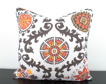 Taupe ikat pillow cover 20x20 bohemian decor, orange couch pillow case, tribal cushion with piping, flower pillow cover