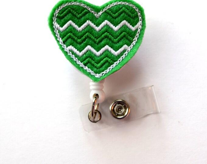 Green and White Chevron Heart - Cute Badge Clip - Nurses Badge Holder - Nursing Badge Holder - Teacher Badge Reel - St. Patricks Day Gift
