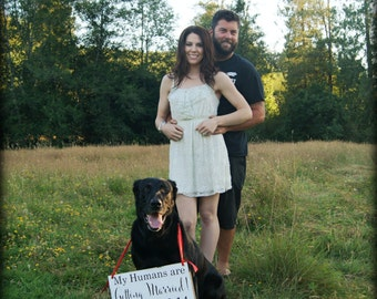 My Humans are Getting Married Engagement Sign with Date and/or Just Married on the reverse side.  Save the Date, Photo Props. 8 X 16 in.