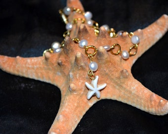 Starfish and Pearls Anklet