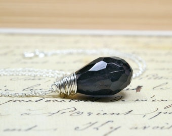 Jet Black Crystal Teardrop Necklace, Chunky Acrylic Drop, Simple Wire Wrap Jewelry, Neutral Modern Black Pendant
