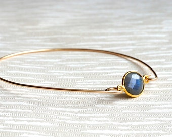 Labradorite Bangle Bracelet Gold Labradorite Bracelet Gold Bangle Gift Bracelet, Gift for Her
