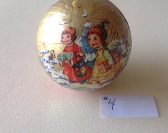 """Vintage German Paper Mâché Christmas Candy Container Ball Ornament, approx. 2 1/2"""""""