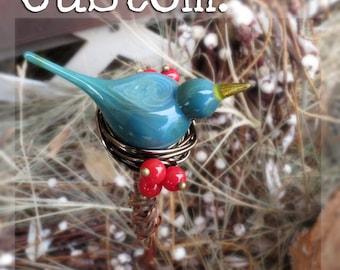 Custom bird plant stake, garden art, glass yard art, indoor garden, birds with berries