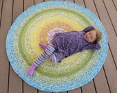 rainbow rag rug - round recycled crochet stripes 48 inches