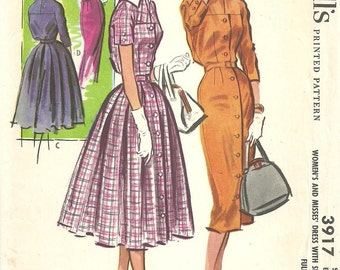 McCalls 3917 / Vintage 50s Sewing Pattern / Dress / Size 14 Bust 34