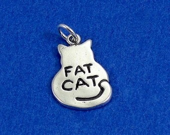Fat Cat Charm - Sterling Silver Fat Cat Charm for Necklace or Bracelet