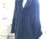 VINTAGE 1980's Dark Brown Faux Fur Coat
