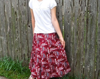 Girls Long Hanndmade Modest Patriotic Americana Phrases 4th of July USA Tiered Peasant Skirt Size 10/12