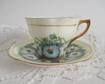 Rosina Tea Cup & Saucer Deco Daisy Garden Gold Gilt