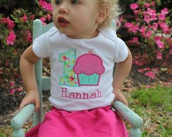 First Birthday Shirt or Bodysuit - Cupcake Birthday - First Birthday Cupcake Shirt - Shabby Chic Birthday