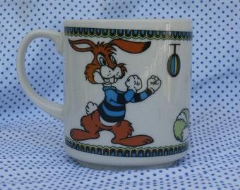 Vintage Child's Mug, Boxing Bunny, Sad Raccoon, Blue Bear Japan Vintage