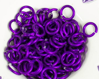 100 PURPLE Jumprings Colored Anodized Aluminum Jump Rings 16 gauge 1/4 Inner Dia. Sawcut Made in the USA Top Quality chainmaille chainmail
