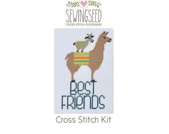 Best Friends Cross Stitch Kit, DIY Cross Stitch, Llama Cross Stitch Kit, DIY Embroidery Kit