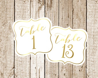 Gold Foil Wedding Table Numbers/Gold Foil Table Numbers/Table Numbers