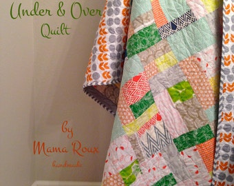 CLEARANCE! 50% OFF! Under & Over Quilt, Modern Patchwork, ORGANIC Hand Screen-printed fabrics, 64 x 49