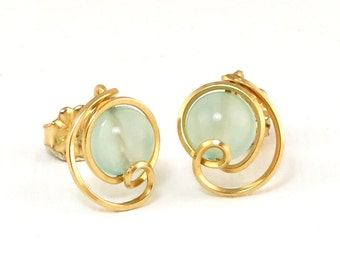 Light Blue Chalcedony Gold Stud Earrings,  Unique Light Blue Stone Wire Wrapped Stud Post Earrings,