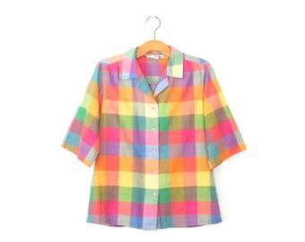 Vintage Plaid Blouse * Colorful 1980s Button Up Shirt * Madras * Large