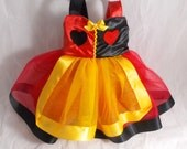 Queen of Hearts dress: red black and gold, lined, tutu dress and satin, easy on and off, halloween costume, birthday party, parks trip