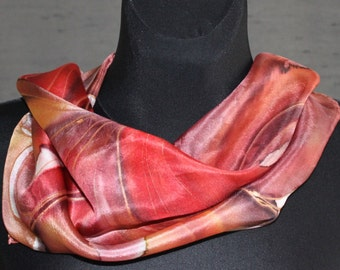 "Red hand painted silk scarf  22"" x 22"" with large abstract flower. Silk square scarf or unframed painting/ floral wall art one-of-the-kind"