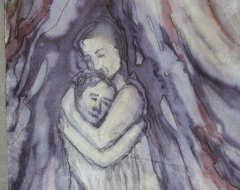 "Figural silk painting/ wall hanging ""Hug"". Art with hugging people with special energy. Purple slate blue grey wall art/ silk scarf 14 x 51"