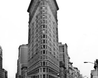 Photograph of Flatiron Building, New York City Print, Yellow Taxi, Black White New York Photography, Yellow Cab