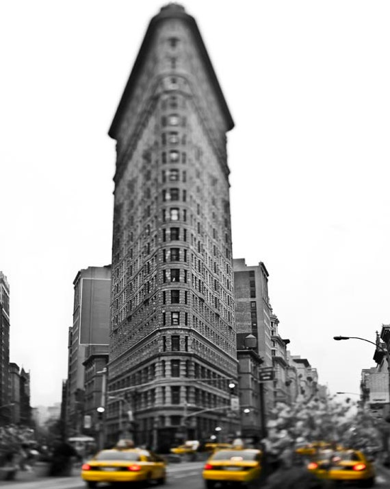 Flatiron Building, New York City Print, Yellow Taxi, Black and White New York Photography, Yellow Cab