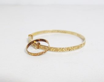Vintage 1940s Baby's Ring and Bracelet, 10k Gold