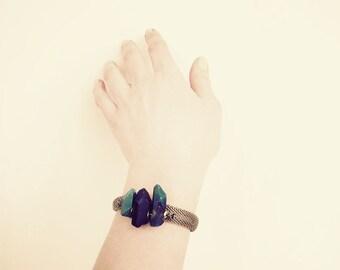 Quartz Crystal Bracelet, Mesh Statement Bracelet, Brass Chain Bracelet, Mineral Jewelry