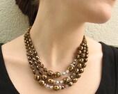 Golden Firepolish Necklace - Bronze Necklace - Glass Necklace - Firepolish Necklace - Silver and Gold Necklace - Beaded Necklace