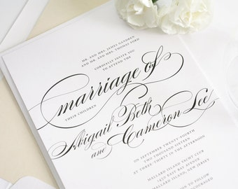 Formal Wedding Invitations in Black and White on Pearl Shimmer Luxury Cardstock - Marriage Design Sample