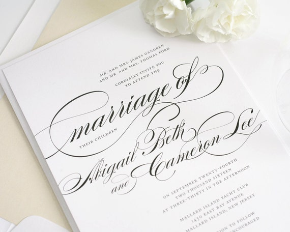 Formal Wording For Wedding Invitations: Formal Wedding Invitations In Black And White By