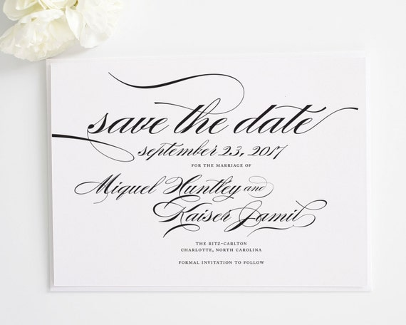 Elegant Save the Date Cards in Black and White - Marriage Design - Deposit
